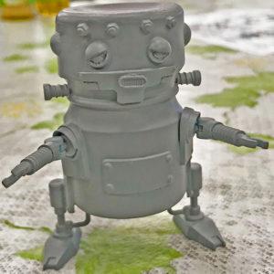 乳酸菌飲料容器をボディーにして。フランケンシュタインの怪物ロボ!長谷氏作例。